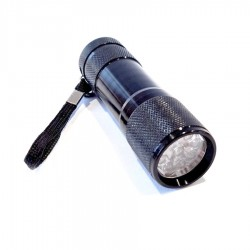 Portable UV 9 LED Flashlight with strap and 3 x AAA batteries