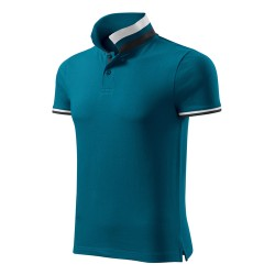 Men's Polo Shirt Collar Up, Petrol Blue